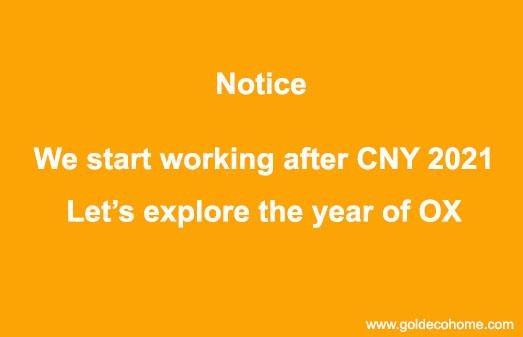 We start working after CNY holiday!